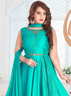 Readymade Anarkali Suit Zari Chanderi in Turquoise