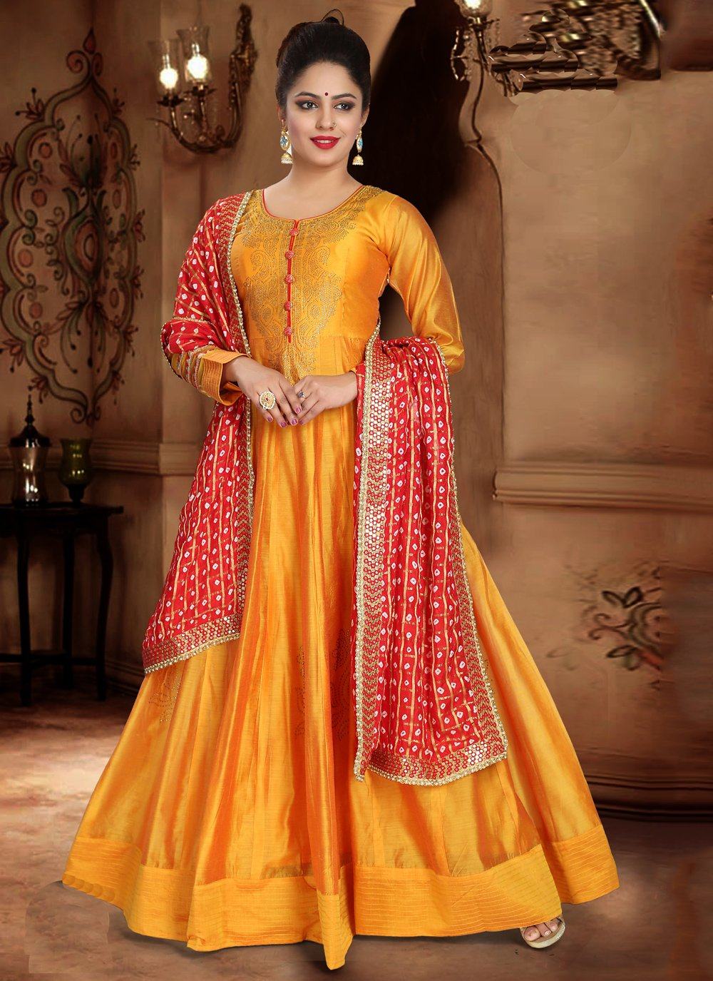 Readymade Designer Gown Handwork Silk in Orange