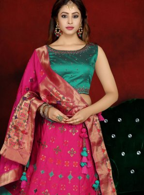 Readymade Lehenga Choli Embroidered Banarasi Silk in Pink