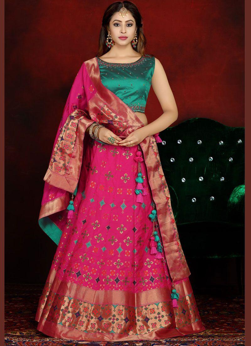 Readymade Lehenga Choli Embroidered Banarasi Silk in Pink