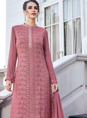 Readymade Salwar Kameez Embroidered Georgette in Mauve