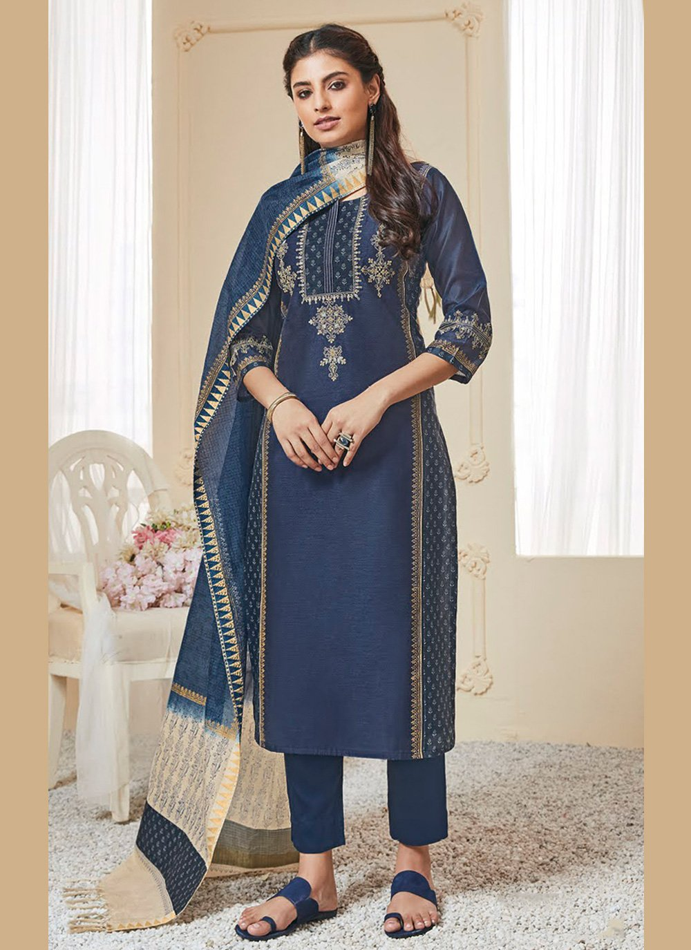 Readymade Salwar Suit Resham Polly Cotton in Blue