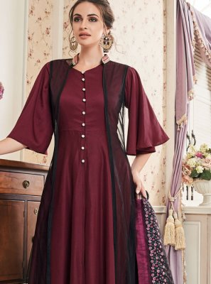 Readymade Suit Embroidered Muslin in Maroon