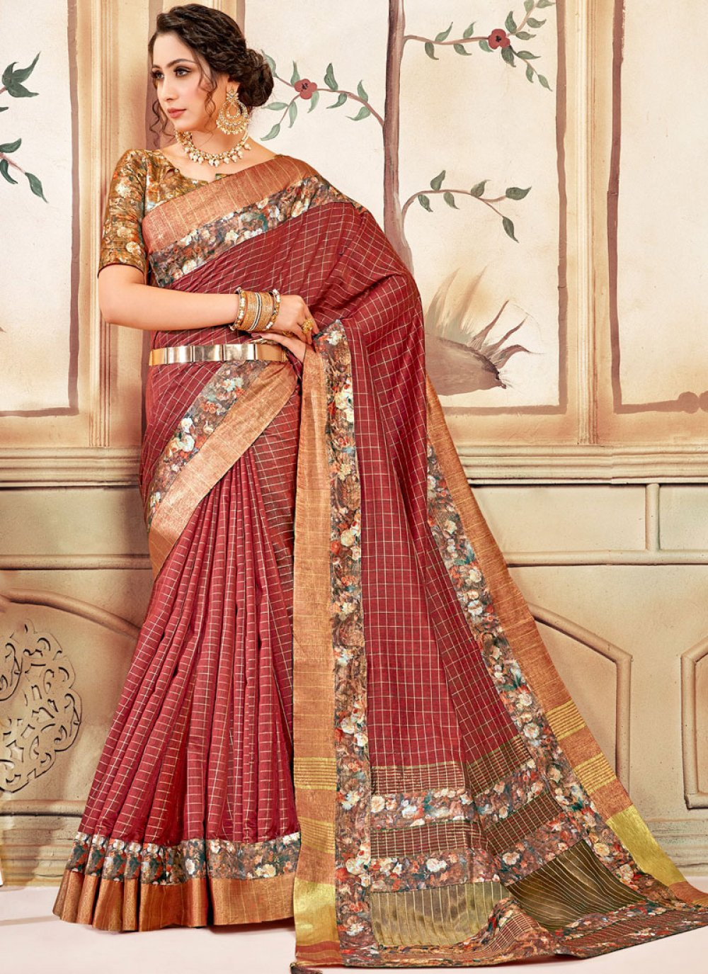 Red Abstract Print Festival Classic Saree