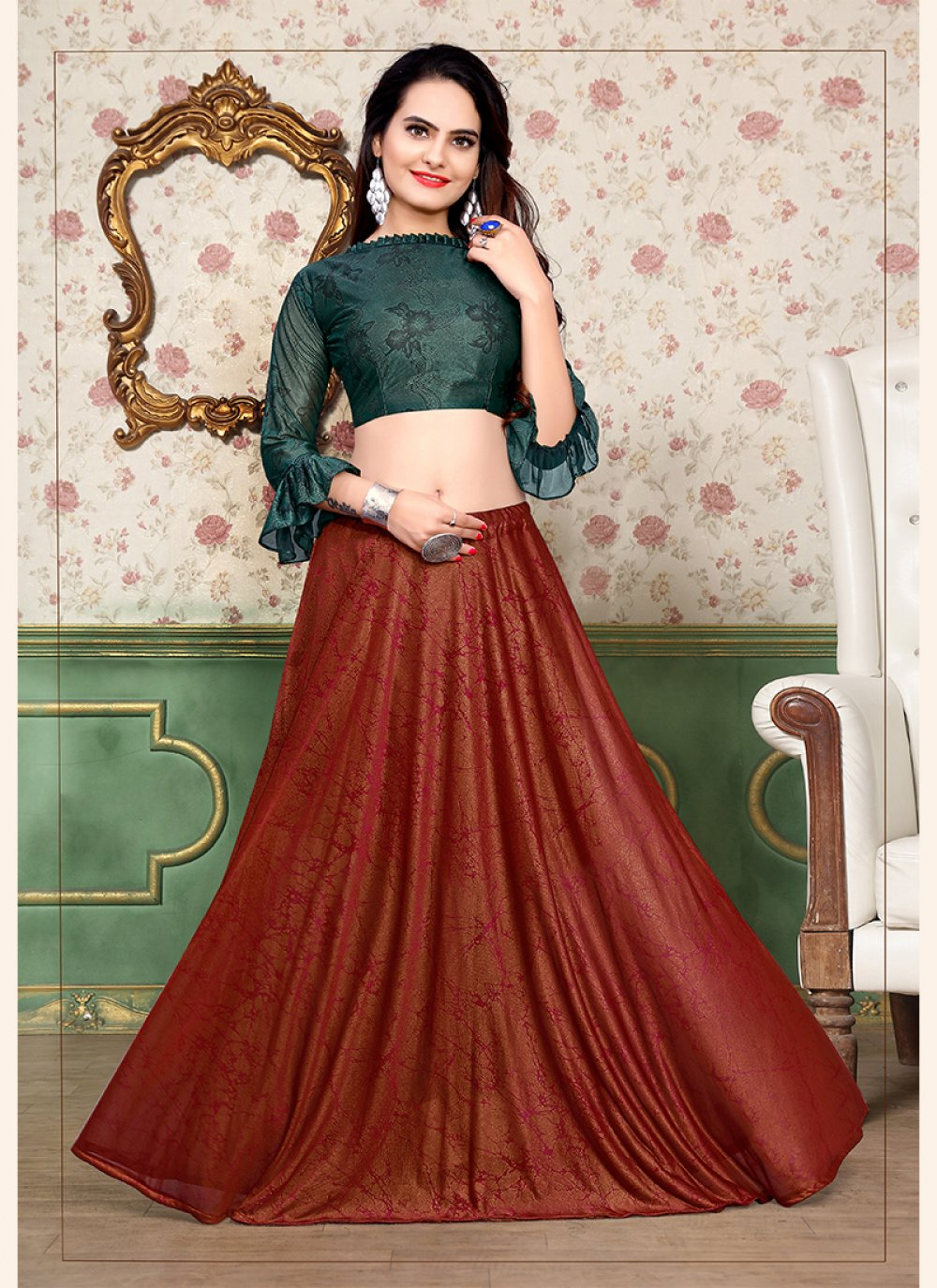 Red and Teal Print Festival A Line Lehenga Choli