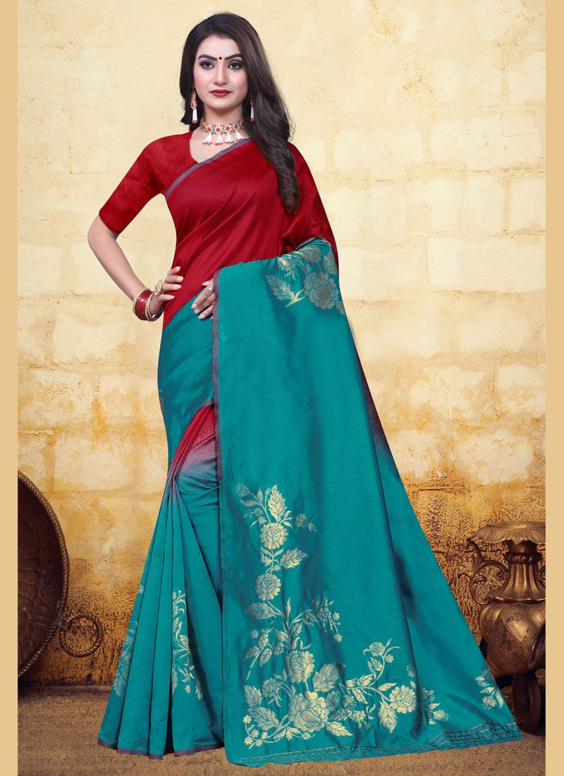 Red and Turquoise Festival Half N Half Trendy Saree