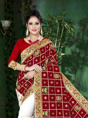 Red and White Embroidered Designer Half N Half Saree