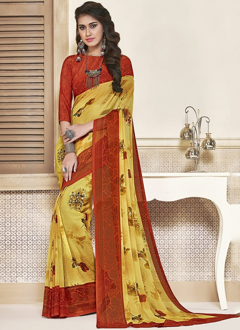 Red and Yellow Georgette Saree
