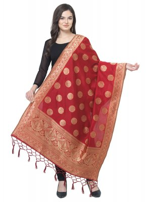 Red Art Banarasi Silk Party Designer Dupatta