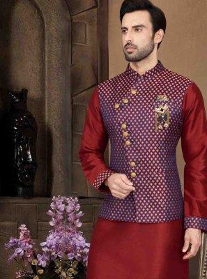 Red Art Dupion Silk Engagement Kurta Payjama With Jacket