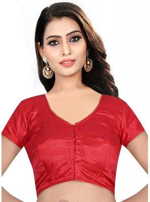 Red Art Raw Silk Festival Designer Blouse