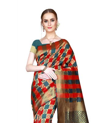 Red Art Silk Casual Saree