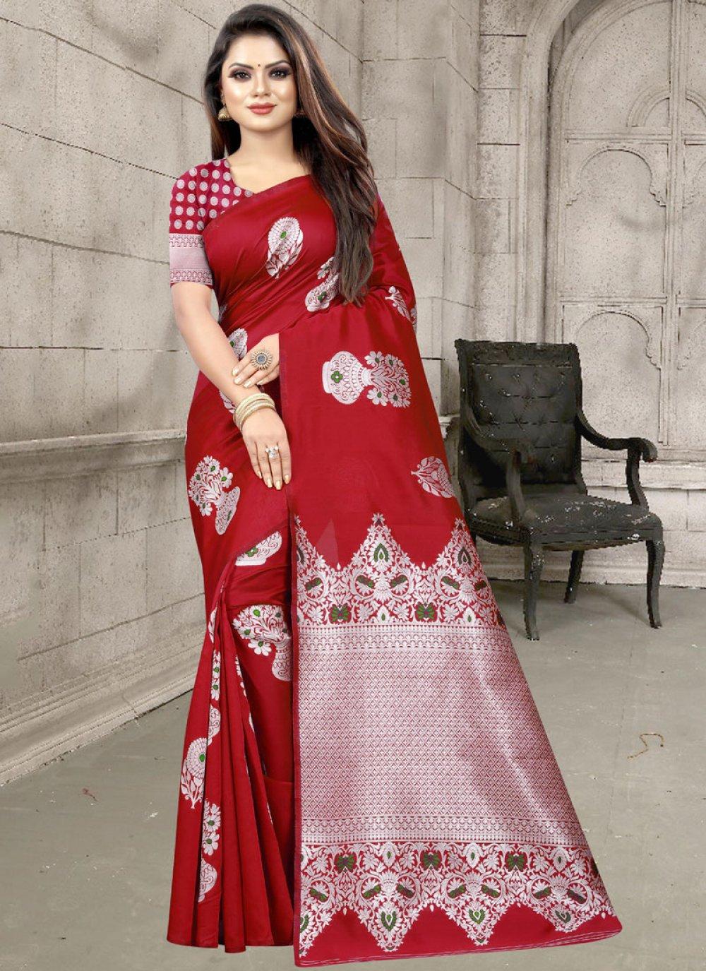 Red Art Silk Designer Traditional Saree