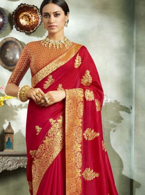 Red Art Silk Festival Classic Saree