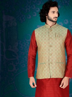 Red Art Silk Mehndi Kurta Payjama With Jacket