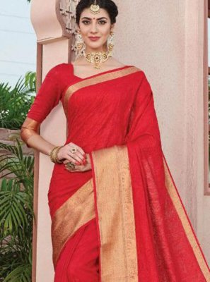Red Art Silk Silk Saree