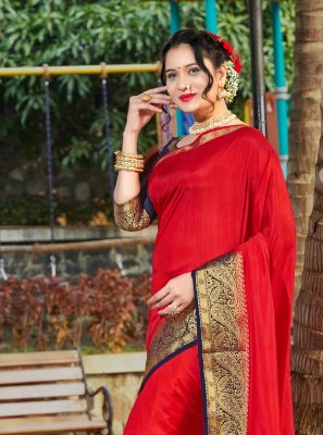Red Banarasi Silk Classic Saree