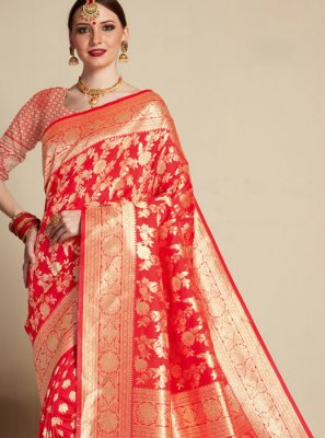 Red Banarasi Silk Weaving Designer Saree