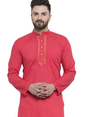 Red Blended Cotton Kurta