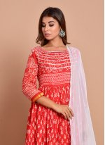 Red Block Print Cotton Readymade Trendy Gown