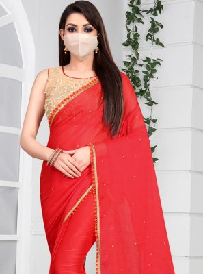 Red Border Casual Classic Saree
