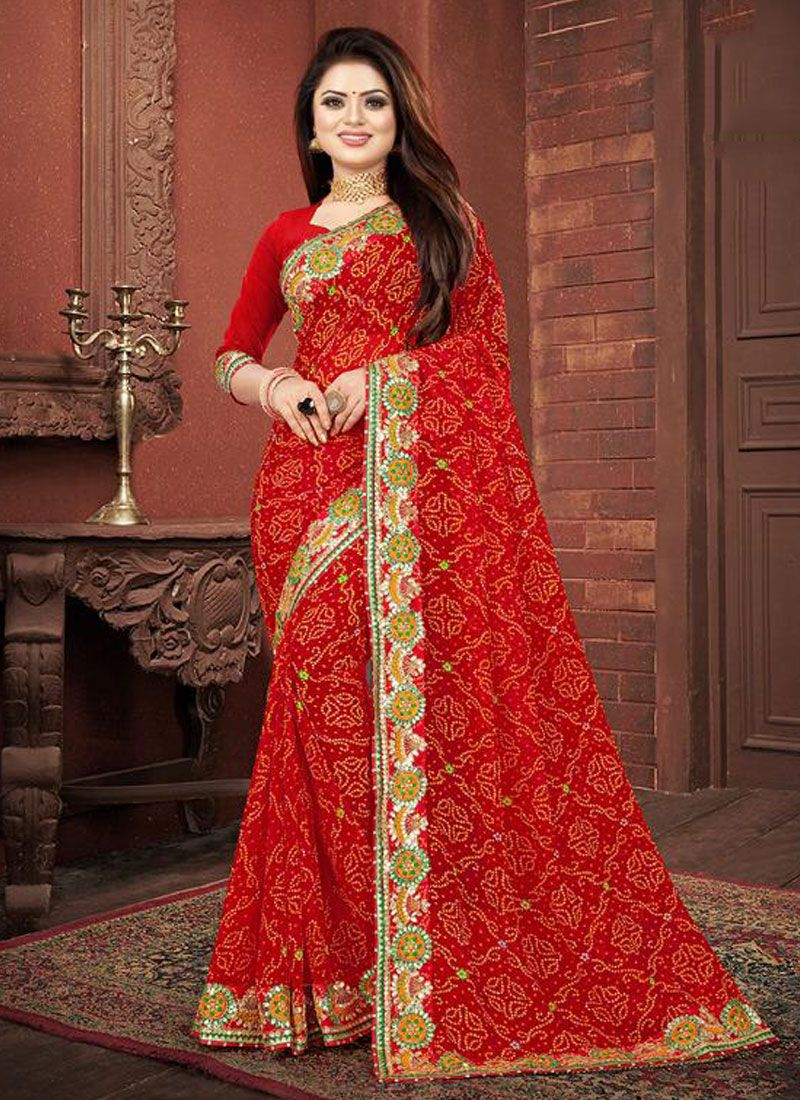 Red Border Festival Designer Saree