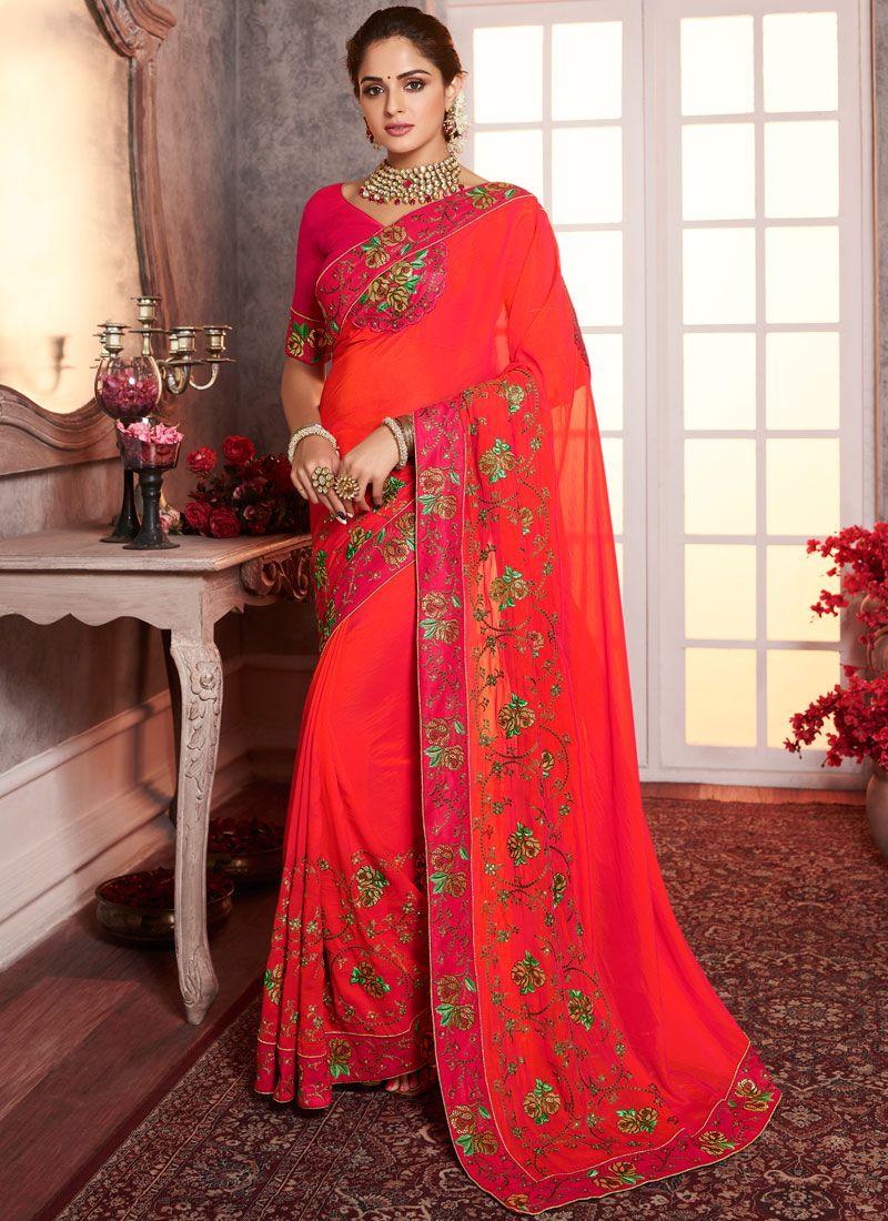 Red Border Silk Designer Saree