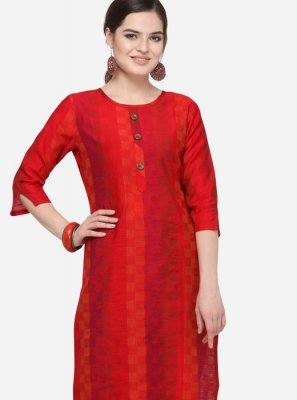 Red Casual Art Silk Cotton Party Wear Kurti
