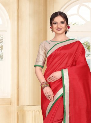 Red Casual Art Silk Trendy Saree