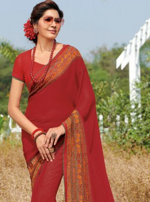 Red Casual Georgette Traditional Saree