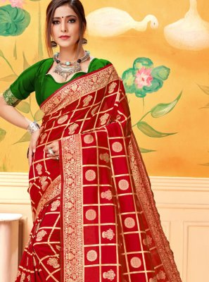 Red Casual Silk Silk Saree
