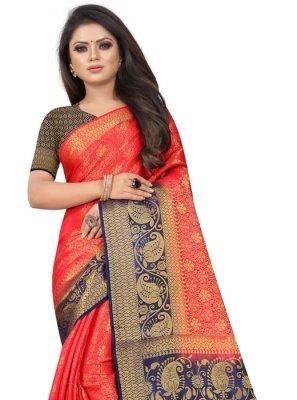 Red Casual Silk Silk Saree