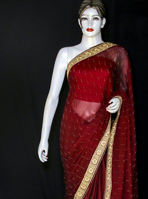 Red Ceremonial Georgette Designer Saree