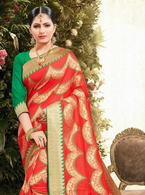 Red Ceremonial Jacquard Classic Saree