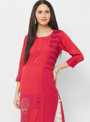 Red Ceremonial Party Wear Kurti