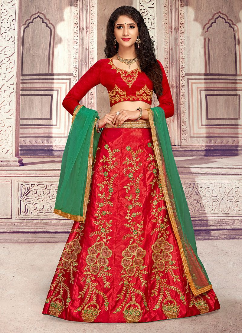Red Ceremonial Satin Silk Designer Lehenga Choli