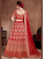 Red Ceremonial Silk A Line Lehenga Choli