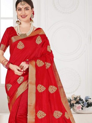 Red Ceremonial Silk Classic Saree