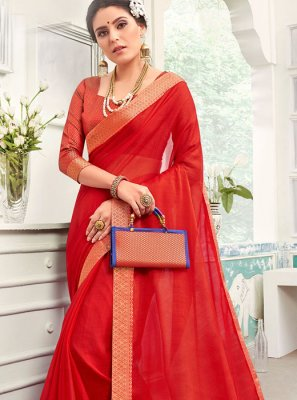 Red Chanderi Festival Classic Saree