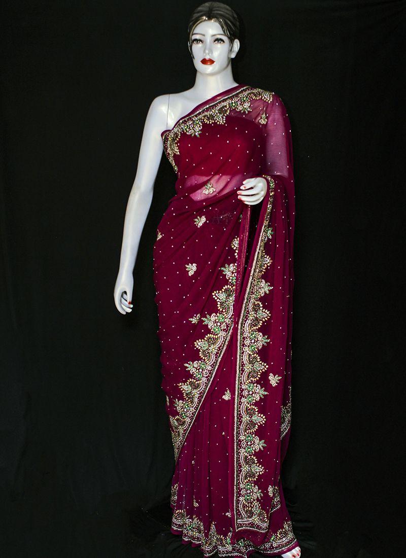 Red Chinon Designer Saree