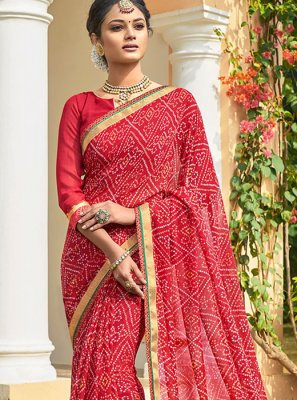 Red Color Bandhani Saree
