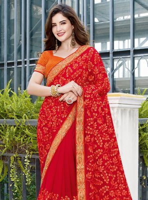 Red Color Classic Designer Saree
