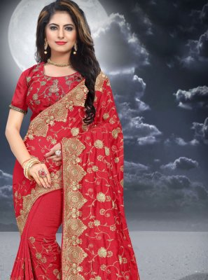 Red Color Classic Saree