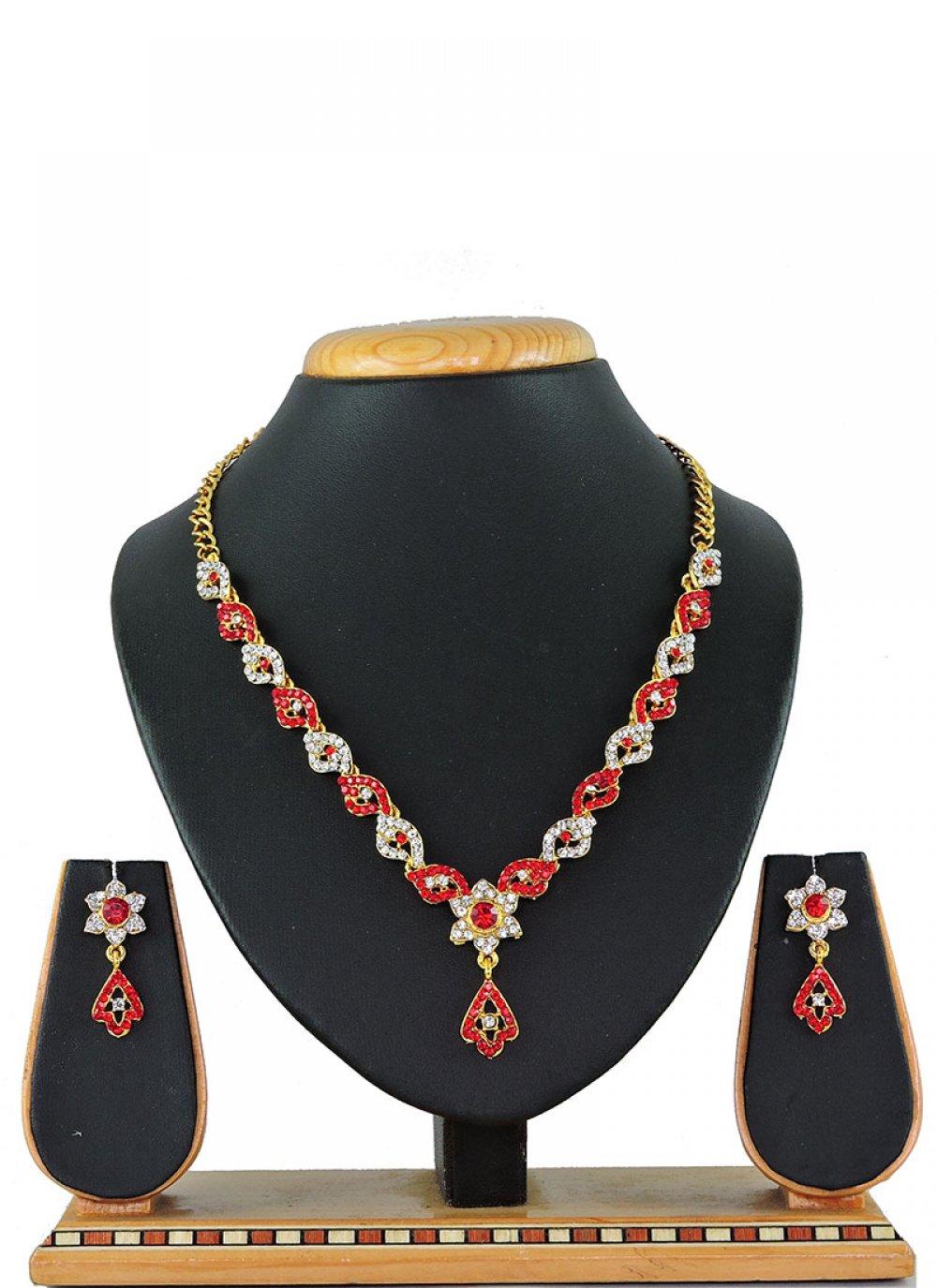 Red Color Necklace Set