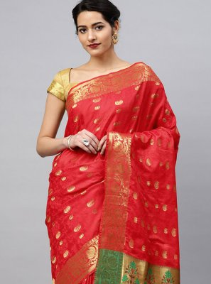 Red Color Printed Saree