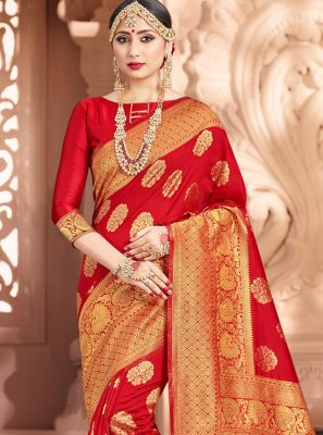 Red Contemporary Saree