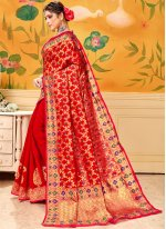 Red Cotton Casual Saree