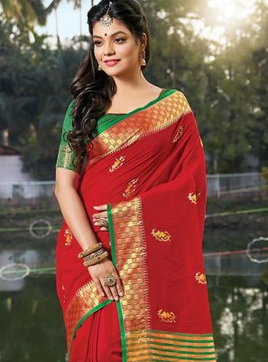 Red Cotton Embroidered Classic Saree