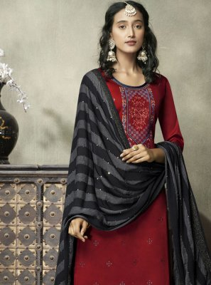 Red Cotton Embroidered Designer Suit