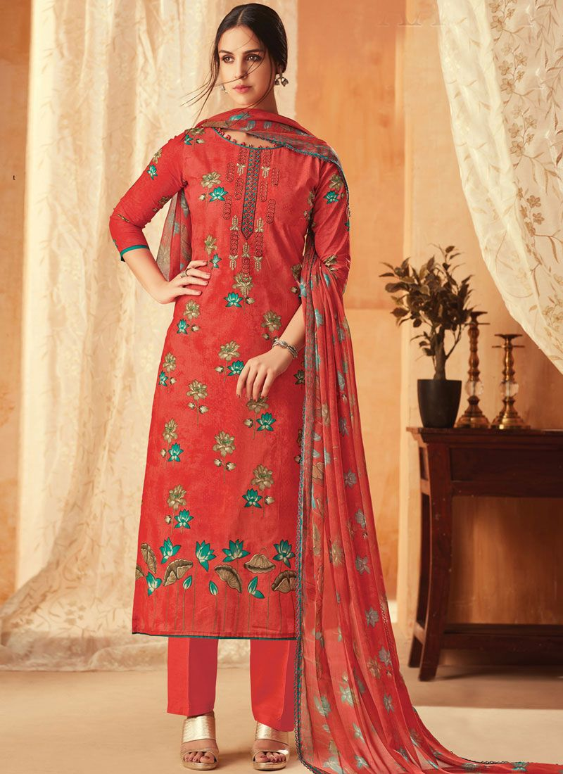 Red Cotton Embroidered Pant Style Suit